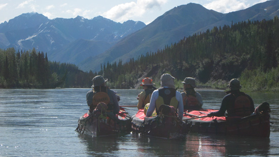 Covered Canoes on South Nahanni River