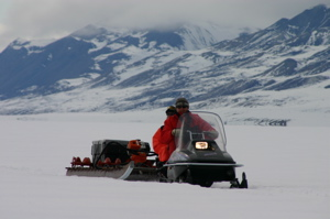Park staff using snow machine on Tanquary Fiord