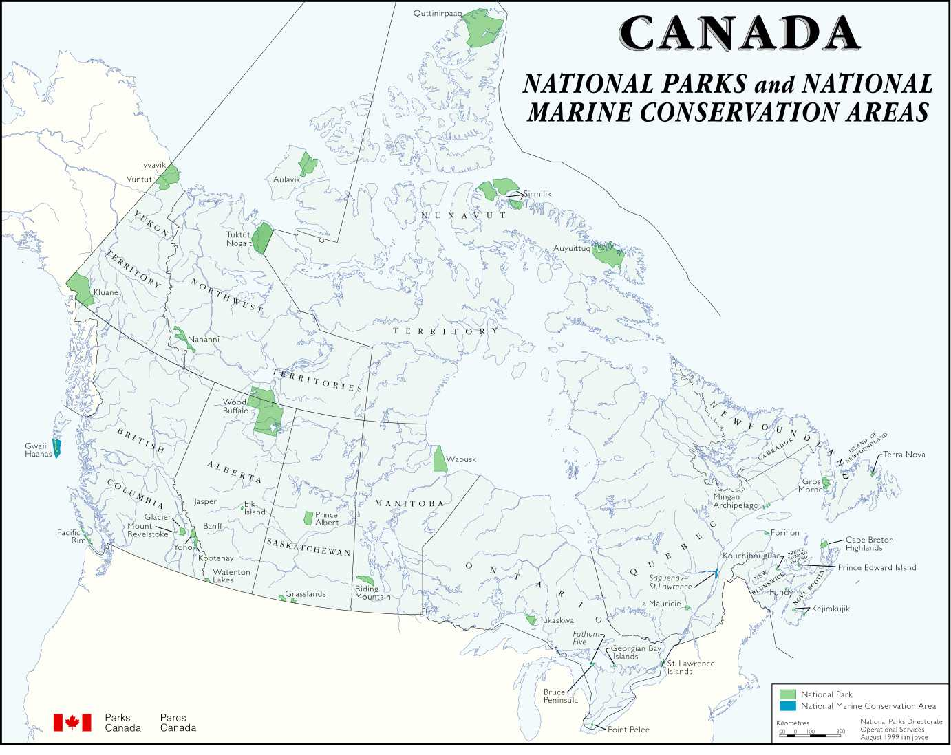 Map showing all of Canada's National Parks and National Marine Conservation Areas