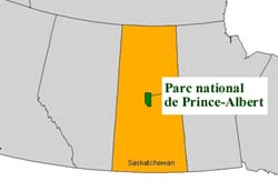 Carte de Parc national de Prince Albert en Canada.