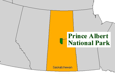 Map of regional setting of Prince Albert National Park in western Canada.