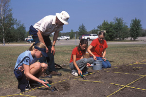 Children's archaeological dig with David Palmer at Batoche National Historic Site of Canada (Sask.)