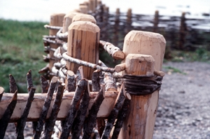 Replica of wooden fence from Viking settlement at L'Anse aux Meadows National Historic Site of Canada (N.L.)
