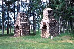 Reconstructed chimneys at Rocky Mountain House National Historic Site of Canada (Alta)