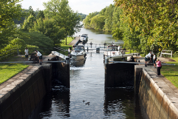 Open locks on the Rideau Canal