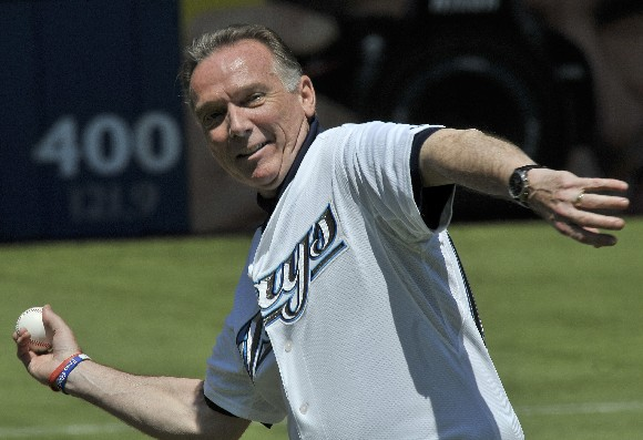 Hon. Peter Kent, Minister of the Environment, throws the first pitch at the Blue Jays game!