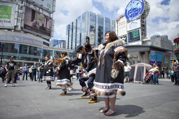 Dancers from Aklavik perform at Dundas Square.