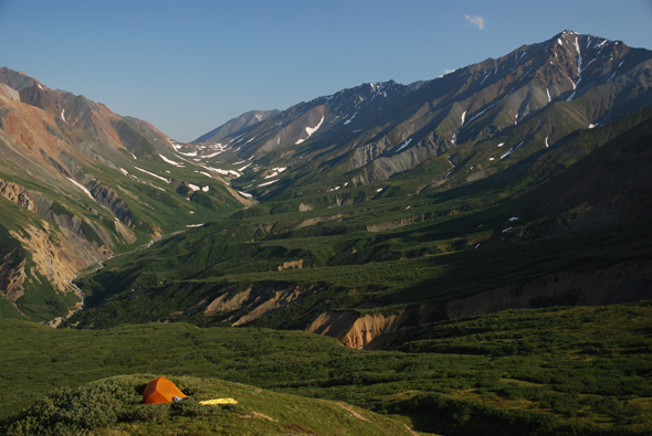 Campsite above Ferguson Creek, Kluane National Park.