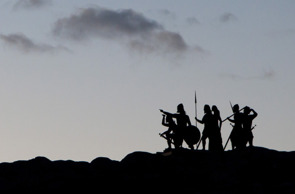 An iron sculpture silhouetted on the landscape evokes the arrival of the Norse to North America 1000 years ago.