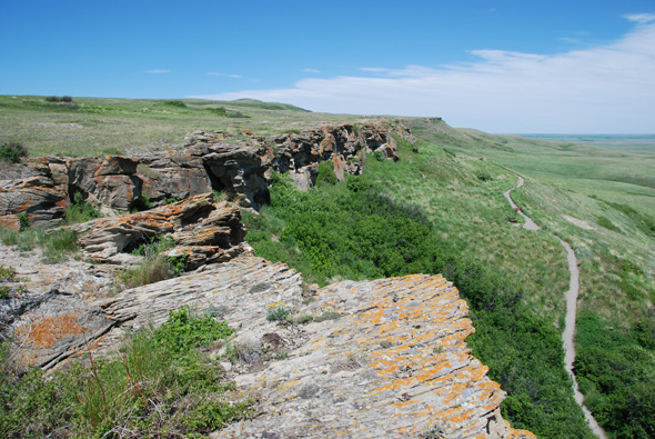 The kill site at Head-Smashed-In Buffalo Jump, looking north.