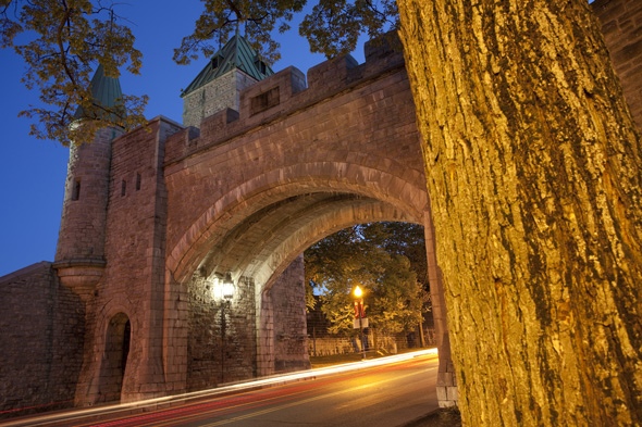 St. Louis Gate at night – Historic district of Old Québec.