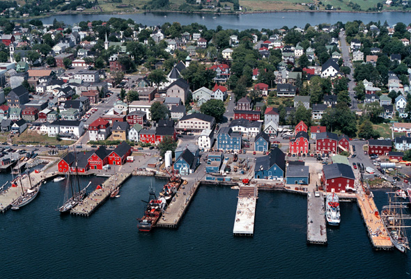 An aerial picture of Old Town Lunenburg.