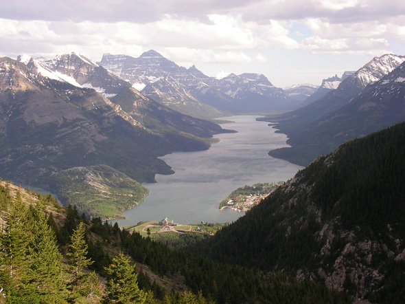View of Upper Waterton Lake from Mount Crandell in Waterton Lakes National Park, looking into Glacier National Park, MT.
