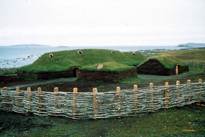 Picture of replicas built by Parks Canada of Vikings sod hut.